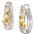 Heart Filled With Love Engraved Dog Breed Sterling Silver Earrings: Pet Dog Lover Jewelry