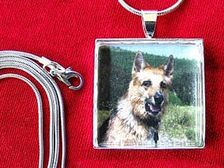 Tripawds Square Custom Photo Silver Pet Photo Pendant