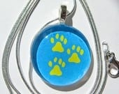 Tripawds Three Paw Glass Tile Charm Silver Necklace