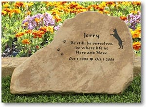 Garden Stone Pet Memorial for Three Legged Cancer Hero Jerry