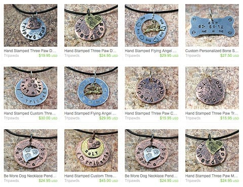 See All Tripawds Hand Stamped Metal Jewelry
