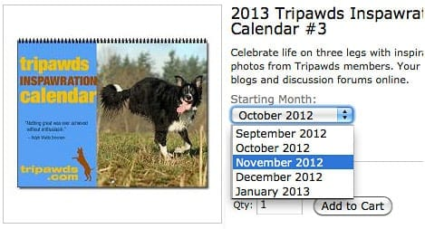 Flexible Tripawds Calendar Start Month