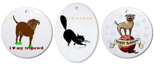 tripawds three legged dog and cat ornaments