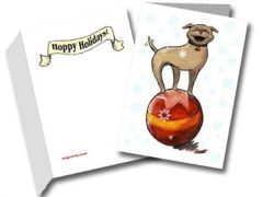 hoppy holidays three legged dog greeting card