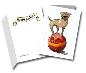 hoppy holidays three legged dog greeting card