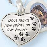 Dog Paw Prints Heart Picture Holder Pendant