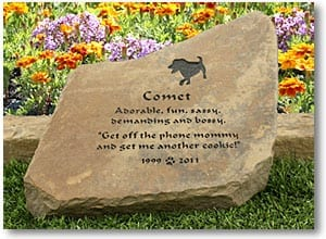 Garden Stone Pet Memorial for Three Legged Dog Comet