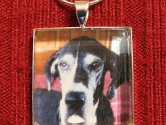 Tripawds Custom Square Photo pendant for Three Legged Great Dane Tess