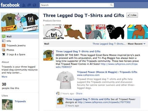 Tripawds Three Legged Dog T-shirts and Gifts Facebook Page