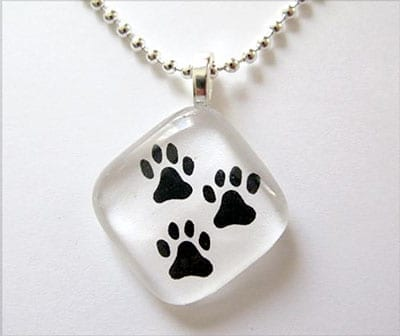 Tripawds Glass Three Paw Charm Necklaces
