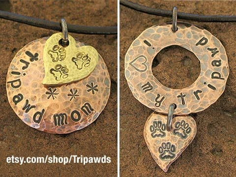 Custom Tripawds Metal Stamped Jewelry