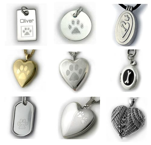 silver and gold pet urn lockets and charms