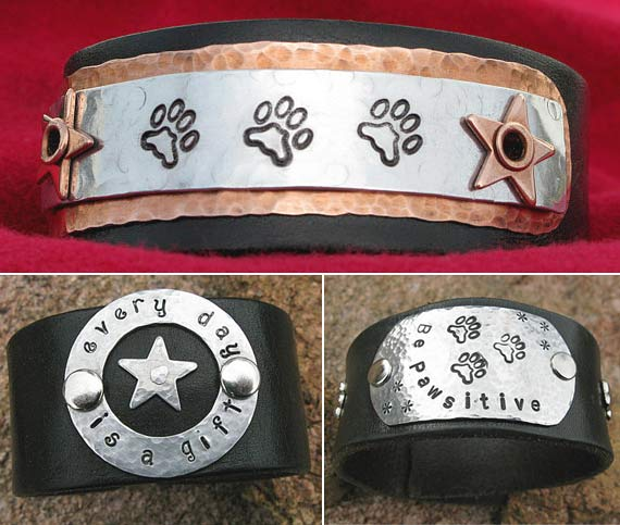 Recycled Belt Wrist Cuffs from Tripawds Etsy Store
