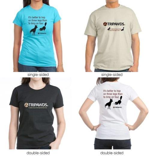 tripawds logo tagline t-shirts
