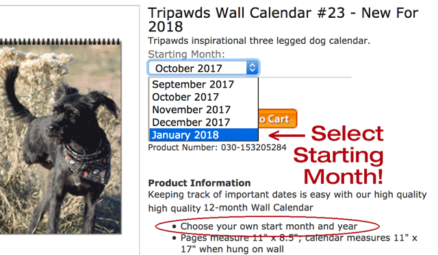 Tripawds Calendar - Pick Start Month