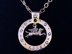 angel dog,memorial,charm,tribute,custom,personalized,sterling silver,handmade,tripawd,three-legged